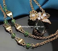 Кулон в ярком исполнении с фианитами и цепочкой, покрытые золотом(835-890 мм) (341381) Цепочка 835 - 890 мм на 6 мм, кулон 30 мм на 25 мм