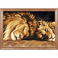 """Рисунок на ткани для вышивания бисером """"Львы отдыхают"""""""