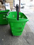 Корзины покупательские с телескопической ручкой бу , корзины пластиковые б/, фото 3