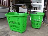 Корзины покупательские с телескопической ручкой бу , корзины пластиковые б/, фото 4