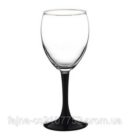 Бокал Імперіал вино чорна ножка 4 шт 240гр 44799