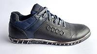 Мужские кожаные кроссовки  Ecco originals black night