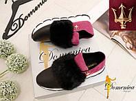 Женские красивые натуральные кроссовки с мехом норки (2 цвета)