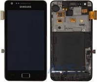 Дисплей (экран) для телефона Samsung Galaxy S2 I9100 + Touchscrееn with frame Original Black