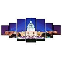 Модульные Светящиеся картины Startonight Вашингтон в ночное время, 7 частей
