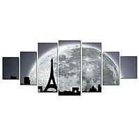 Модульные Светящиеся картины Startonight Черно белая луна над Парижем, 7 частей