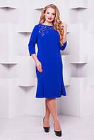 Женское платье большого размера Анюта электрик 52-58 размеры