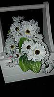 Ромашка - букетик из искусственных цветов, выс.  23 см., 100 шт., 5.67 гр./шт.