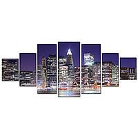 Модульные Светящиеся картины Startonight Огни Нью Йорка, 7 частей