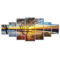 Модульные Светящиеся картины Startonight Восход на озере, 7 частей
