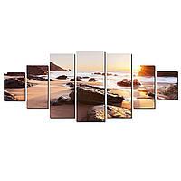 Модульные Светящиеся картины Startonight Рассвет на одиноком пляже, 7 частей