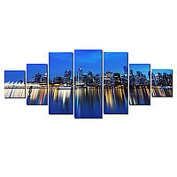 Модульные Светящиеся картины Startonight Огни большого города, Отражение, 7 частей