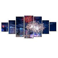 Модульные Светящиеся картины Startonight Фейерверк над городом, 7 частей