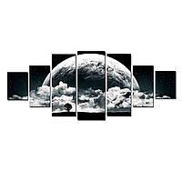 Модульные Светящиеся картины Startonight Черная белая романтическая луна, 7 частей