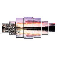 Модульные Светящиеся картины Startonight Закат на озере, 7 частей