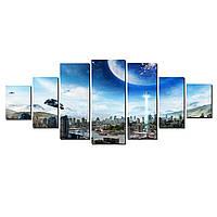 Модульные Светящиеся картины Startonight Фантастический город, 7 частей