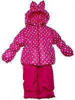 """Демисезонный костюм для девочек """"Ноль"""" модель  """"Кроха Бант"""" Розовый в белый горох"""