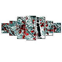 Модульные Светящиеся картины Startonight Красные листья, 7 частей
