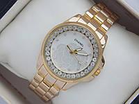 Женские кварцевые наручные часы Chanel золотистые с цветком на циферблате