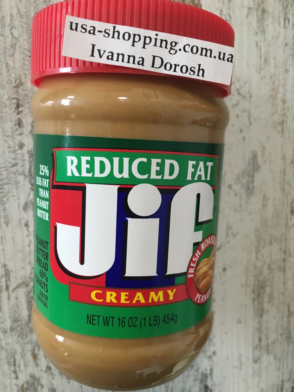 Кремовая арахисовая паста меньше жирности JIF, 454грамм