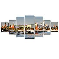 Модульные Светящиеся картины Startonight Кремль на берегу Москвы-реки, 7 частей