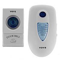 Звонок дверной беспроводной VOYE V003A AC: 2 Вт, питание 220В/батарейка 12В, 38 мелодий, пластик