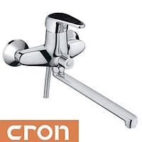 Смеситель для ванны длинный нос Cron Magic Black (Chr-006)