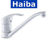 Смеситель для кухни елка на шпильке 25см HAIBA MARS WHITE (белый) (Chr-004)