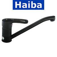 Смеситель для кухни елка на шпильке 25см HAIBA HANSBERG BLACK (черный) (Chr-004)