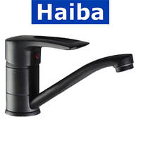 Смеситель для умывальника елка на шпильке 15см HAIBA HANSBERG BLACK (черный) (Chr-004)