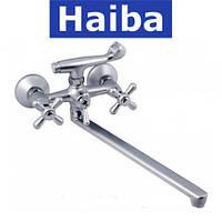 Смеситель для ванны длинный нос HAIBA DOMINOX SATIN (Chr-143)
