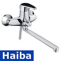 Смеситель для ванны длинный нос HAIBA MAGIC BLACK EURO (Chr-006)
