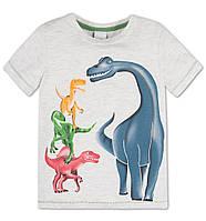 Футболка серая с динозаврами 110