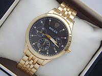 Женские кварцевые часы Rolex на металлическом браслете со стразами