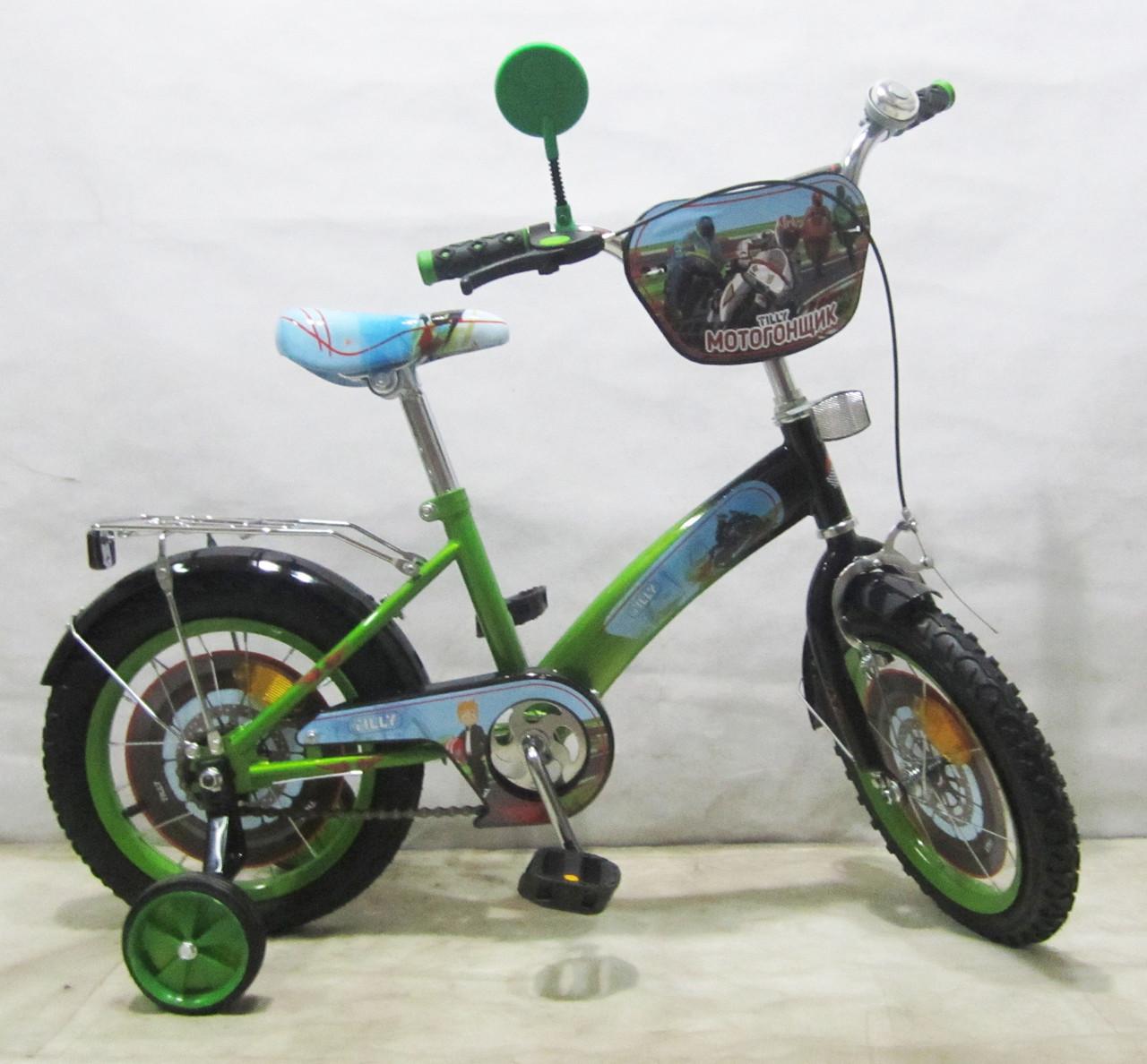 Велосипед TILLY Мотогонщик 14 T-21423 light green + black