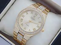 Женские часы Rolex с римскими цифрами и стразы на браслете, фото 1