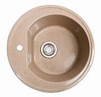 Круглая Гранитная кухонная мойка коричневая