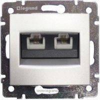 Legrand Valena Выключатель двухклавишный с подсветкой 770128 алюминий