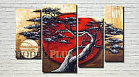 """Модульная картина """"Дерево в Японии"""" масло, холст!"""