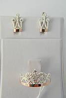 Комплект украшений в форме короны из серебра 925*