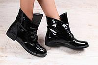 Ботинки женские демисезонные черные из натуральной лаковой кожи