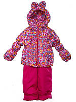 """Демисезонный костюм для девочек """"Ноль"""" модель  """"Кроха Бант"""" Малиновый зоопарк"""