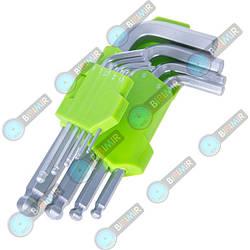 Набор ключей шестигранных изогнутых с шаром Alloid 9 предметов 1,5-10 мм