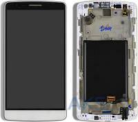 Дисплей (экран) для телефона LG G3s D724 Dual + Touchscreen with frame Original White