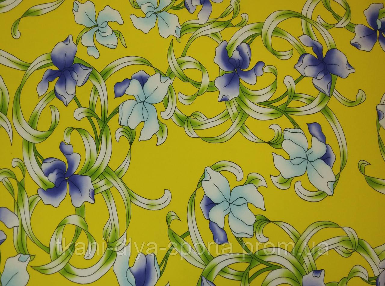 Бифлекс сиреневые цветы на желтом