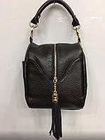 Стильная женская сумка-бочонок материал натуральная кожа, с длинным ремешком. Цвет черный