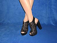 Черные нарядные босоножки на высоком каблуке стрипе кружево гипюр
