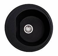 Круглая Гранитная кухонная мойка черная, фото 1