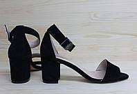 Женские босоножки на невысоком каблуке, возможен отшив в других цветах кожи и замша, фото 1