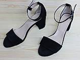 Женские босоножки на невысоком каблуке, возможен отшив в других цветах кожи и замша, фото 3